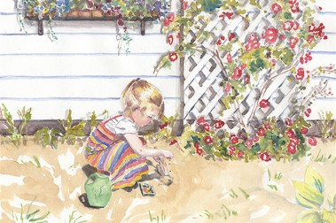 Child Playing by Flower Trellis