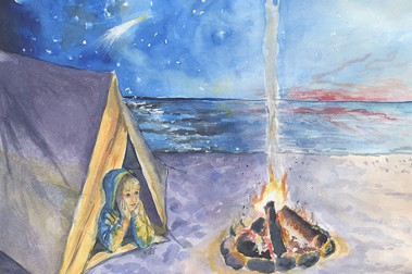 Child on Beach with Campfire